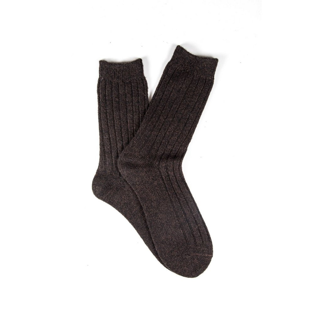 Mens wool socks melbourne in chocolate brown marle, fanned flat lay showing colour