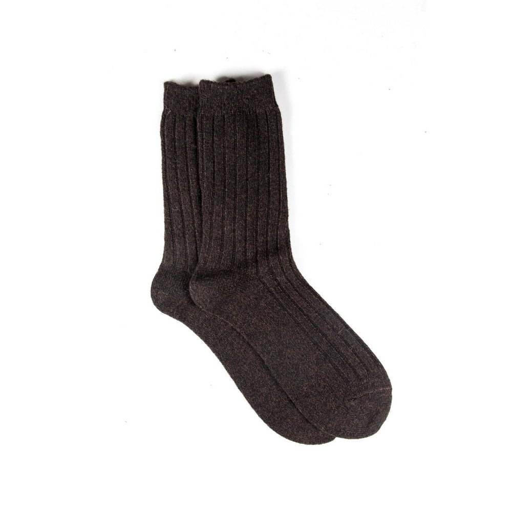 Mens wool socks melbourne in chocolate brown marle, vertical flat lay showing length
