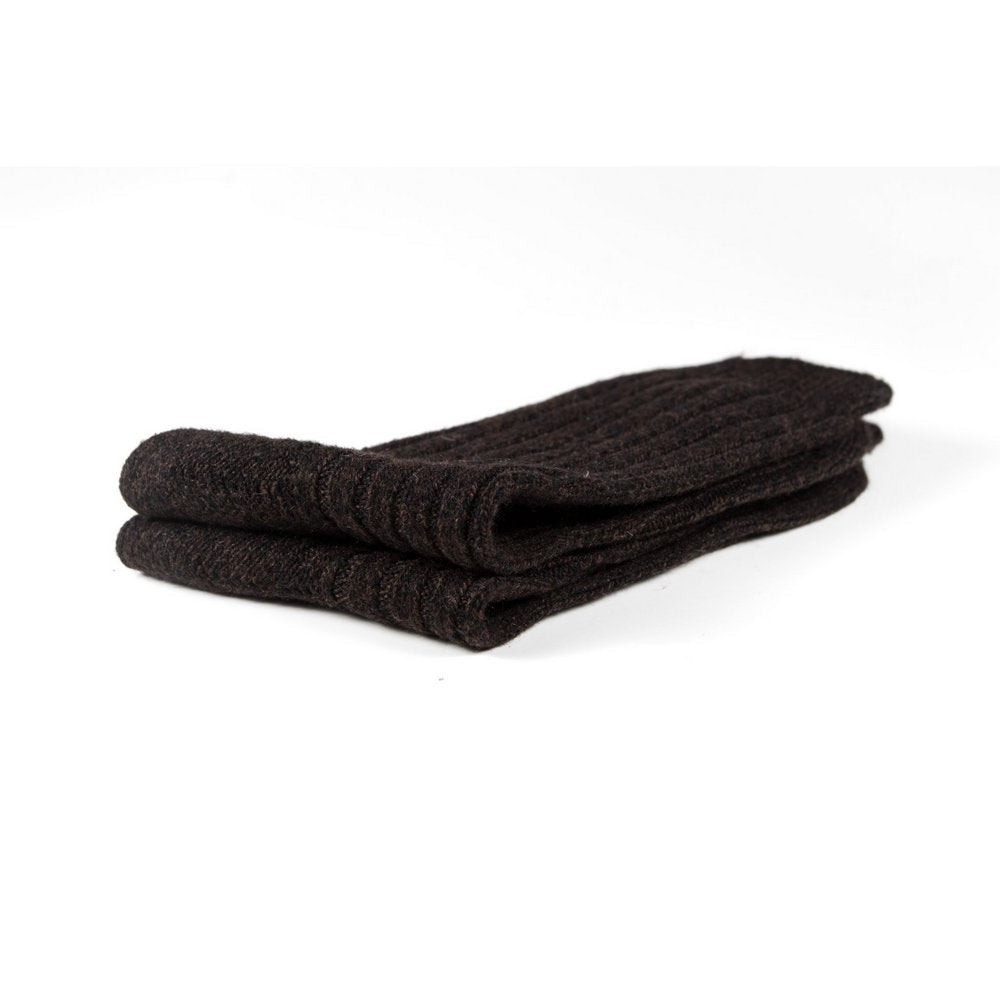 Mens wool socks melbourne in chocolate brown marle, close up showing thickness