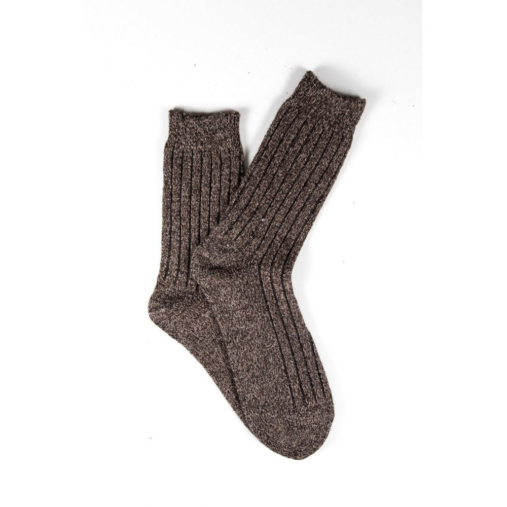 Mens wool socks melbourne in light brown marle, fanned flat lay showing colour