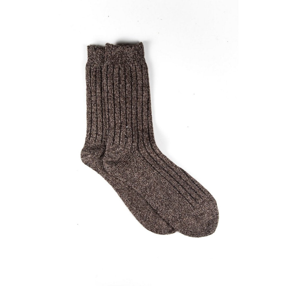 Mens wool socks melbourne in light brown marle, vertical flat lay showing length