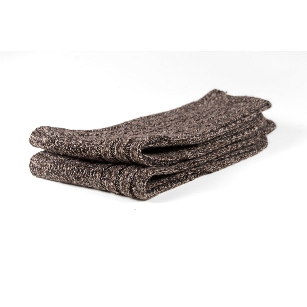 Mens wool socks melbourne in light brown marle, close up showing thickness