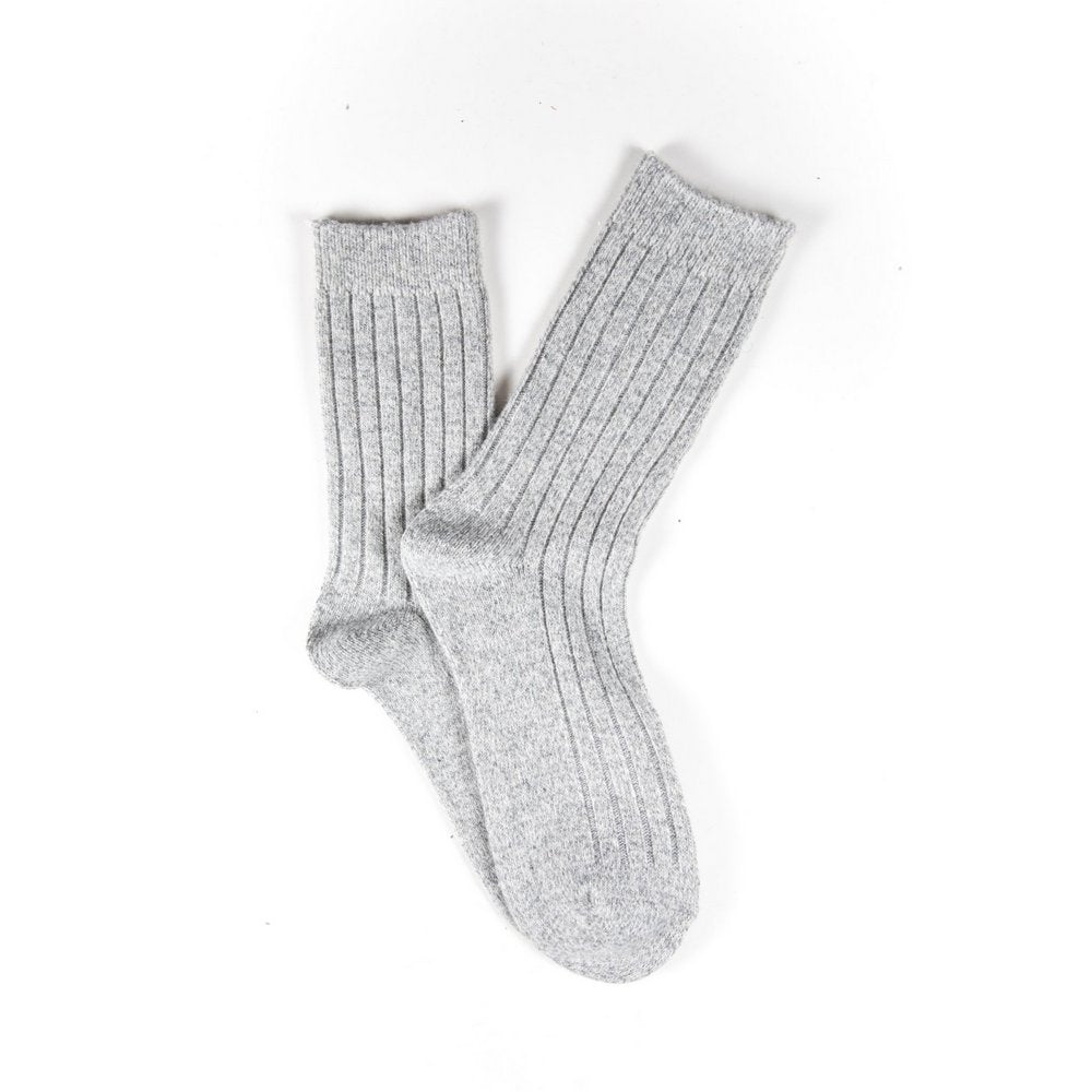 Mens wool socks melbourne in light grey marle, fanned flat lay showing colour