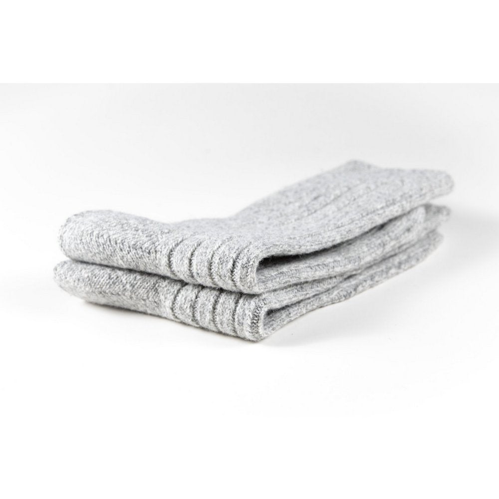 Mens wool socks melbourne in light grey marle, close up showing thickness