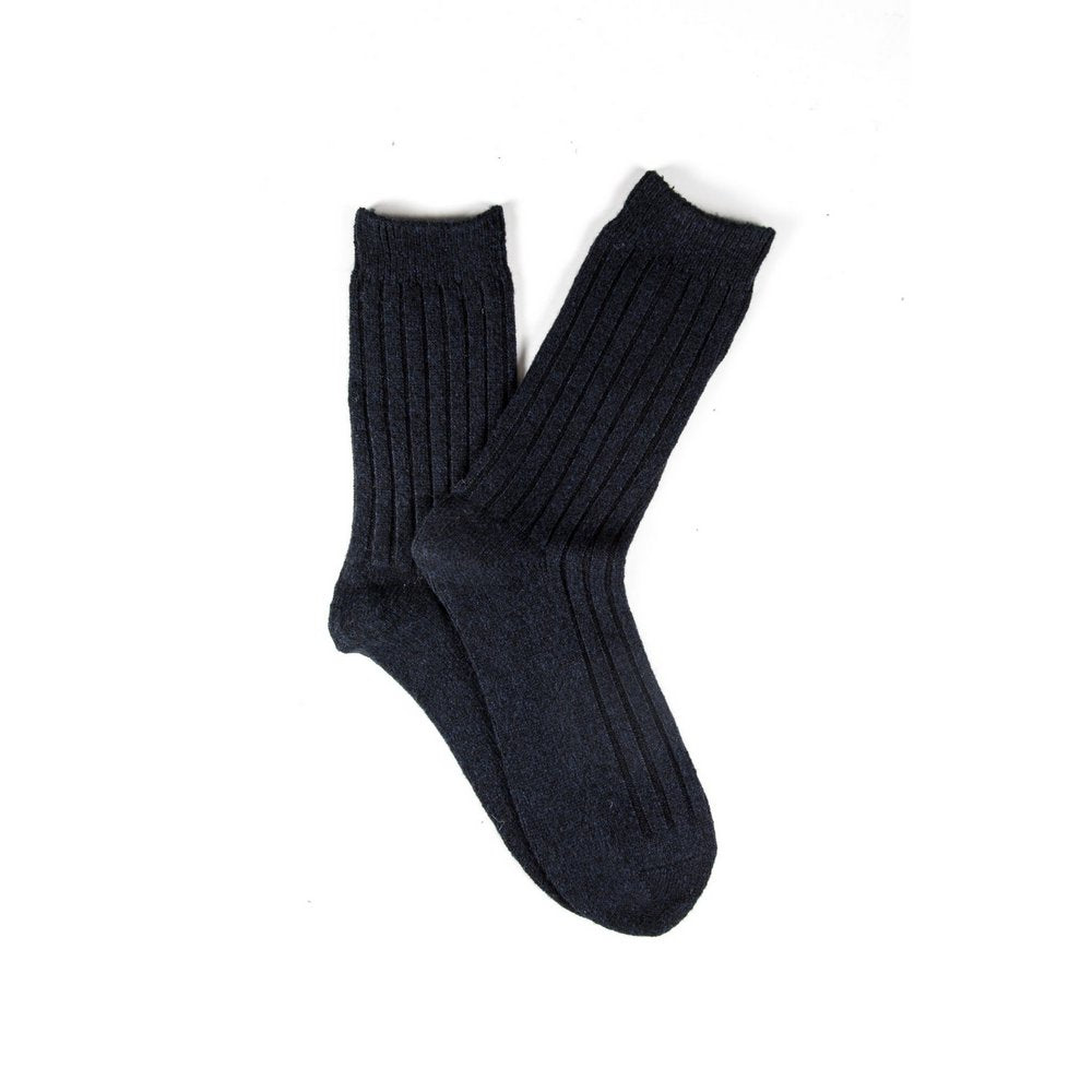 Mens wool socks melbourne in navy, fanned flat lay showing colour