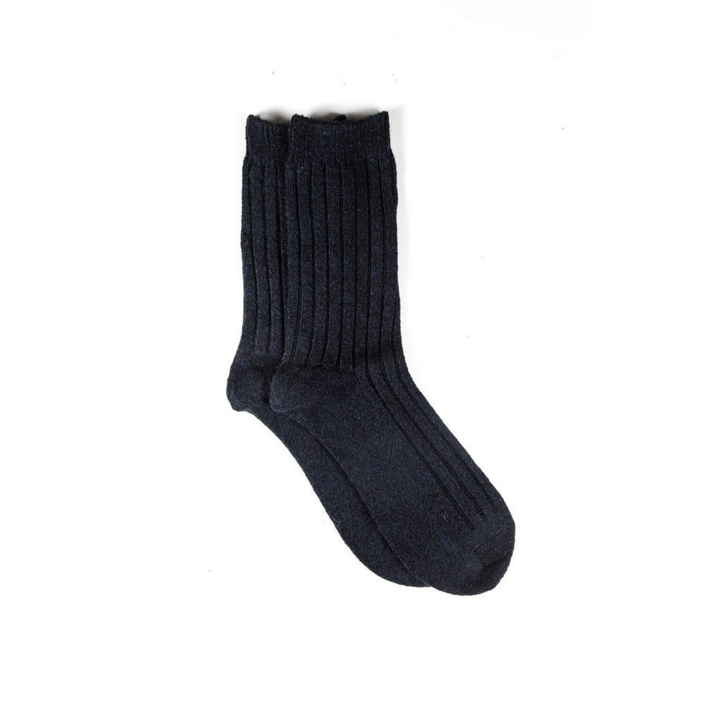Mens wool socks melbourne in navy, vertical flat lay showing length