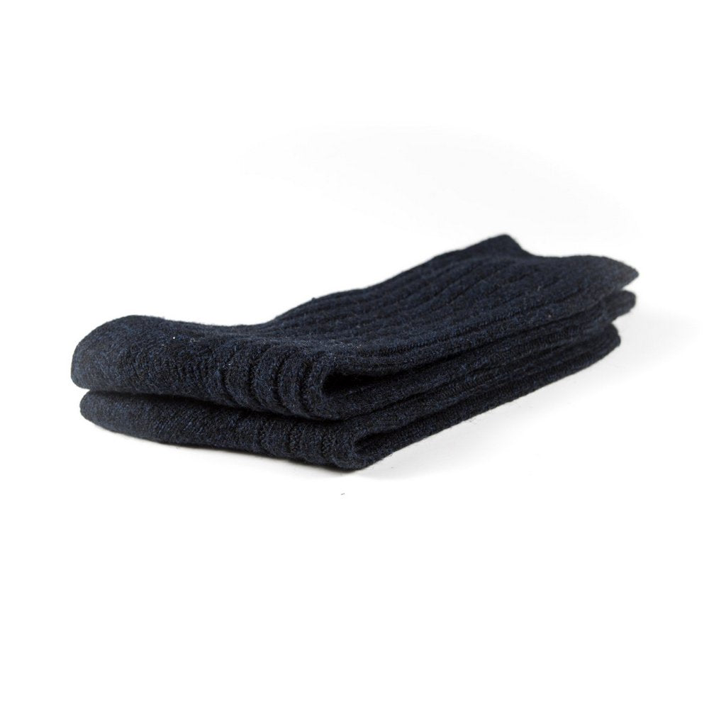 Mens wool socks melbourne in navy, close up showing thickness