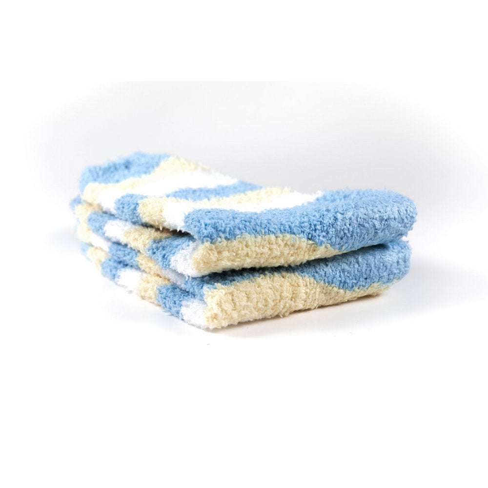 Cosy bed socks for women with non-slip bottoms in baby blue yellow stripes, close up showing thickness