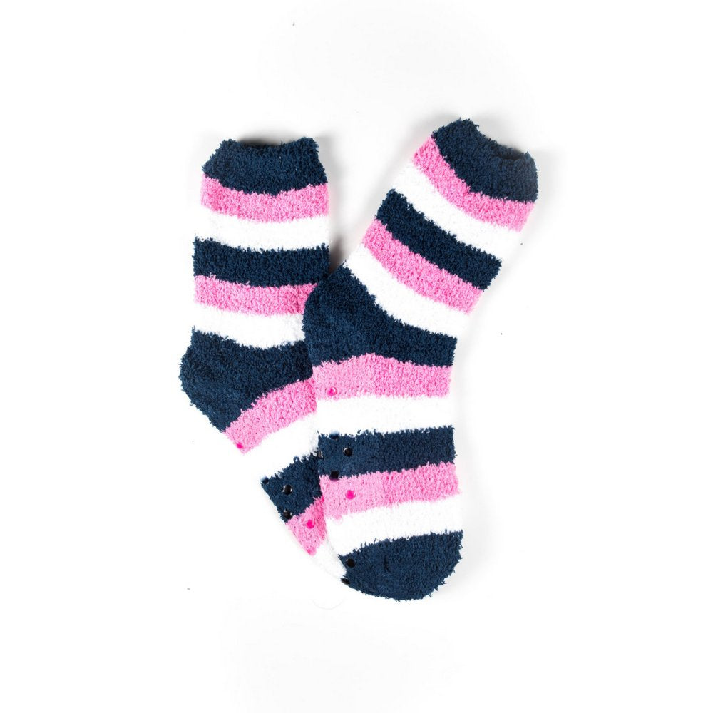 Cosy bed socks for women with non-slip bottoms in navy pink stripes, flat lay showing pattern