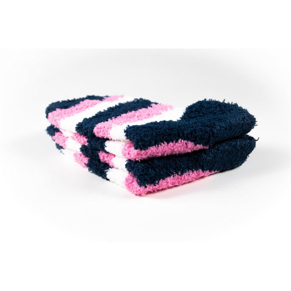 Cosy bed socks for women with non-slip bottoms in navy pink stripes, close up showing thickness