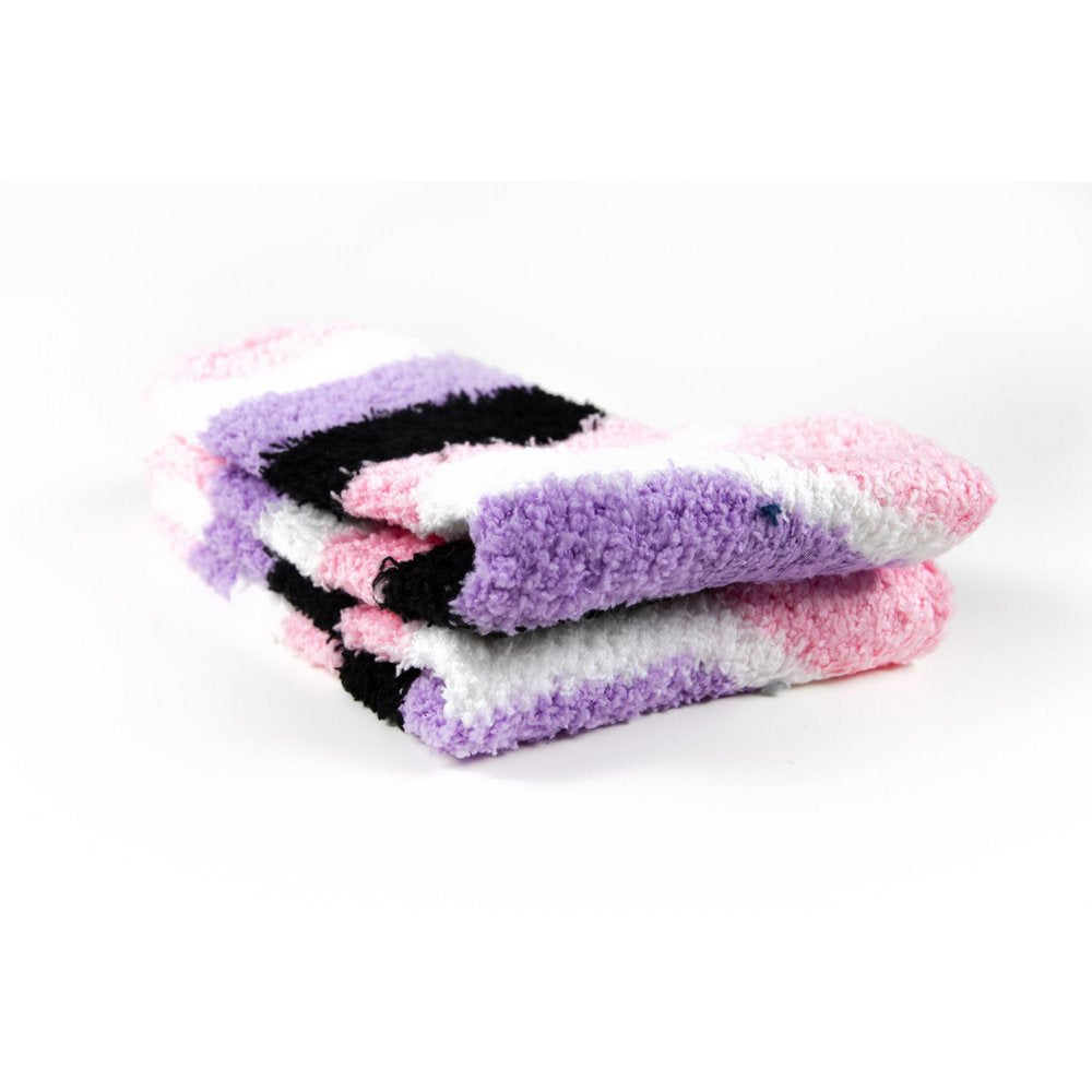 Cosy bed socks for women with non-slip bottoms in pink purple black stripes, close up showing thickness