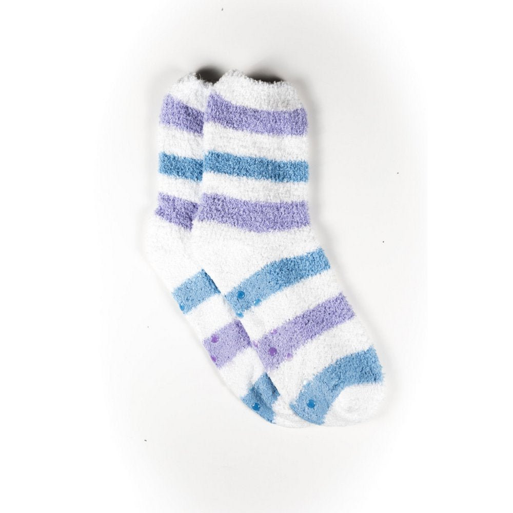 Cosy bed socks for women with non-slip bottoms in blue grey stripes, flat lay showing pattern