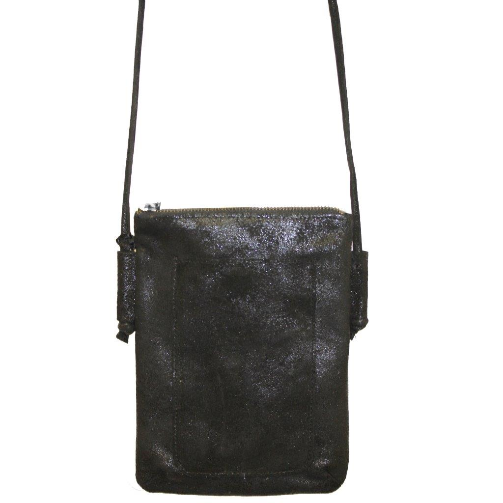 Crossbody Leather Bag, Shimmer Black