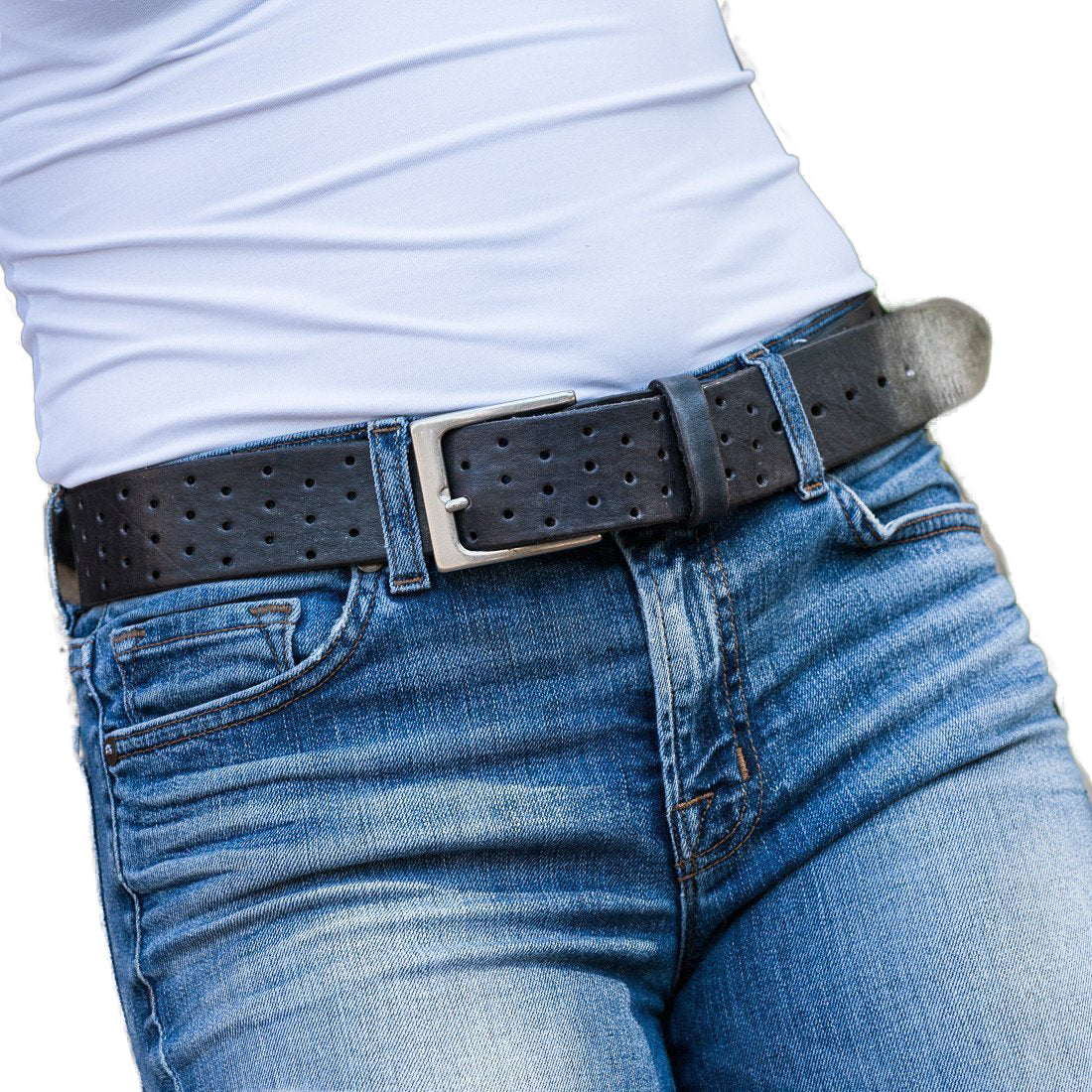 Curved Handmade Leather Belt, Grey