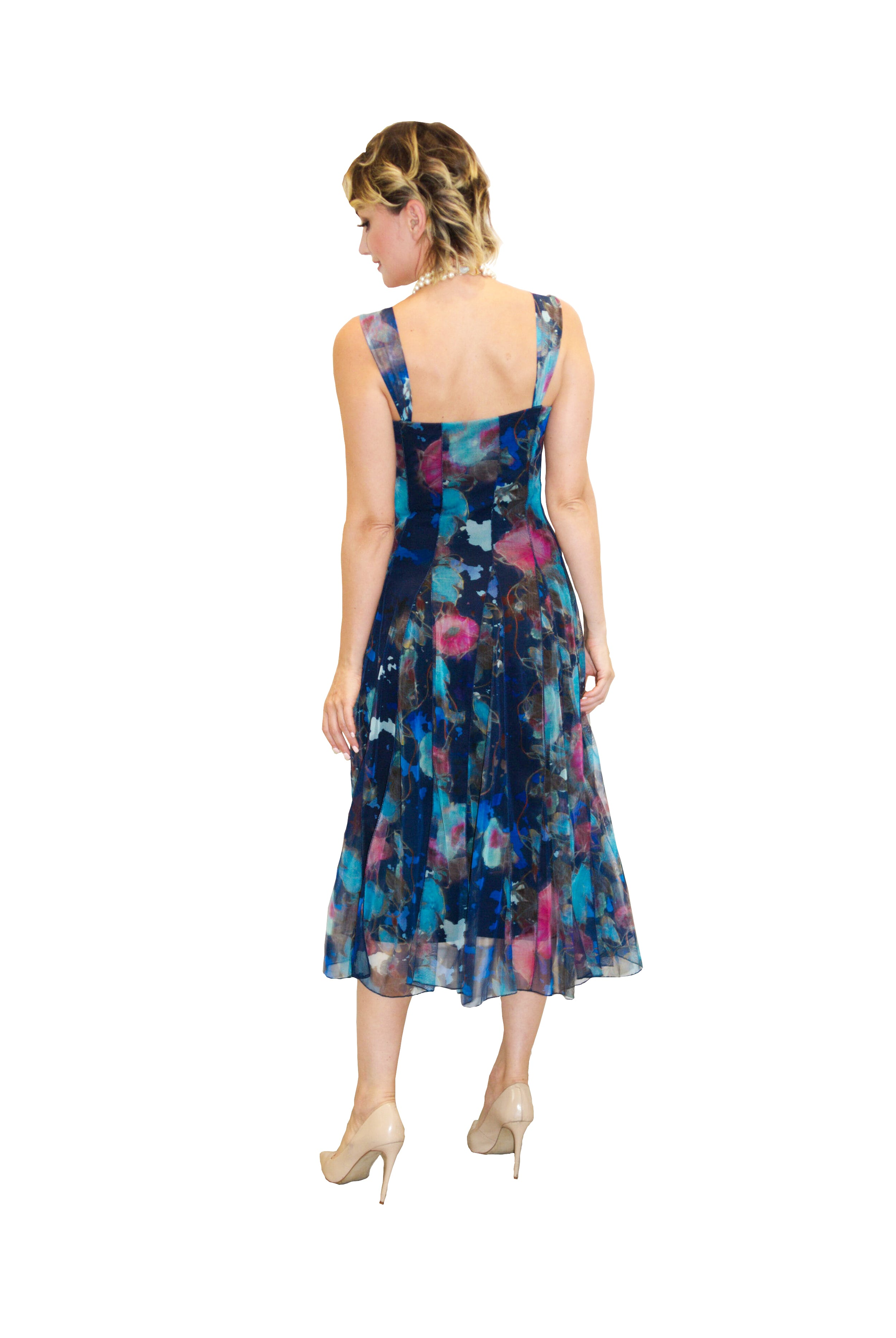 Mesh Floral Blue Print Designer Dress
