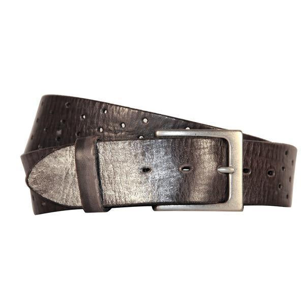 Curved Handmade Leather Belts, Perforata Grey