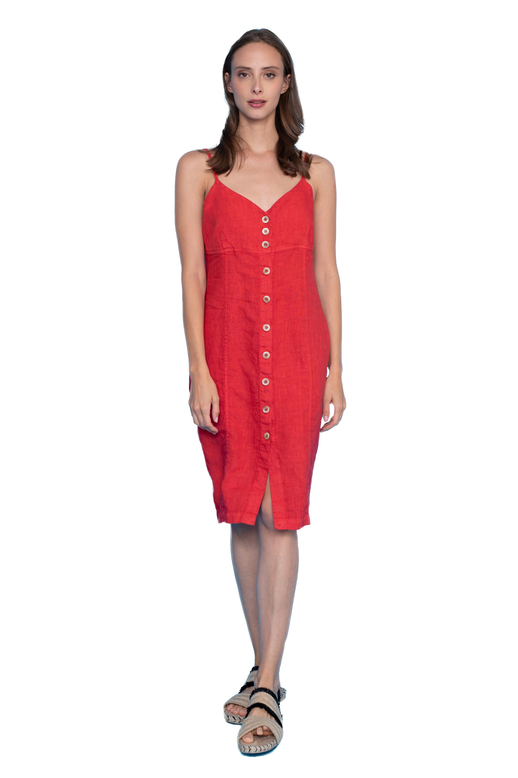 Designer Linen Dress with Straps