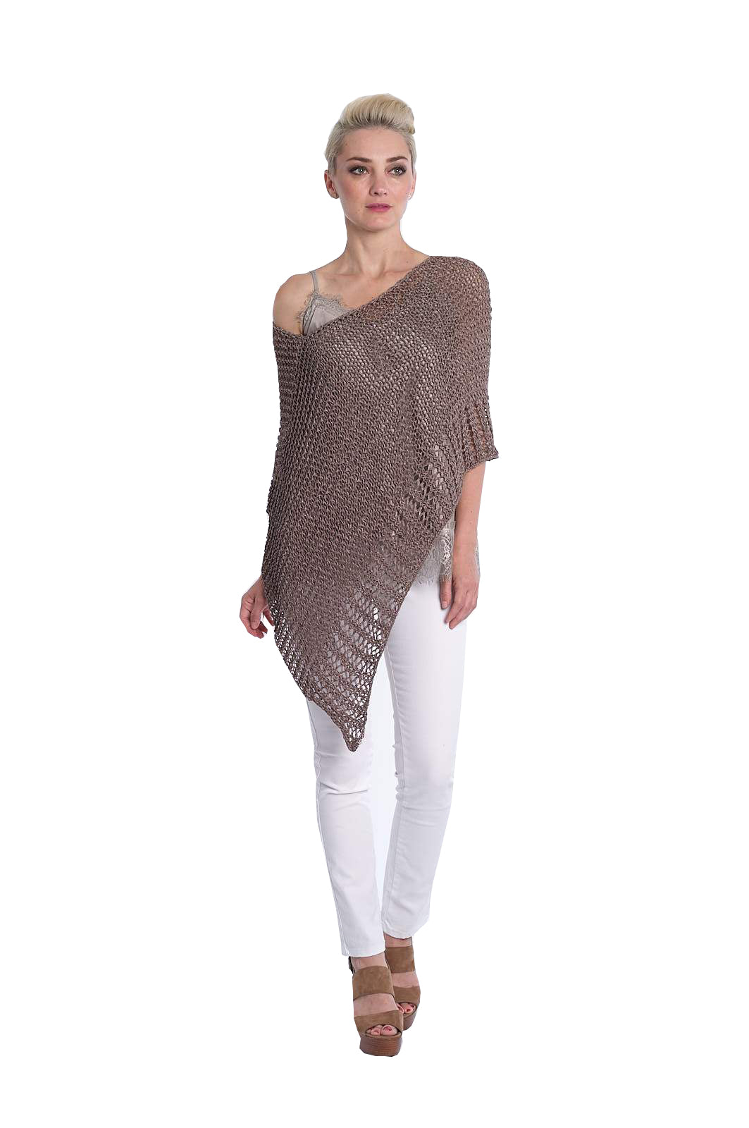 3159 Knit Textured Poncho, Taupe
