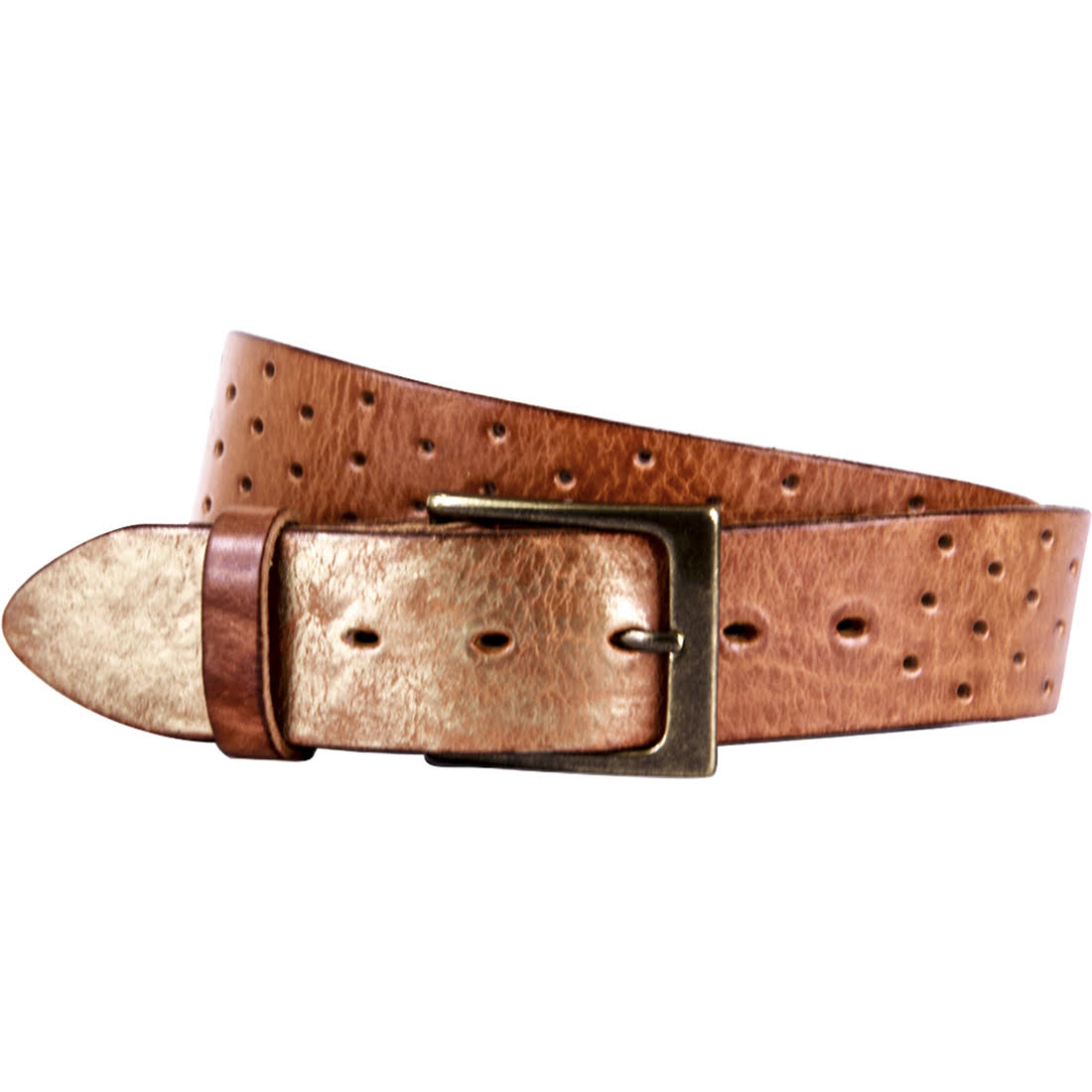 Curved Handmade Leather Belts, Perforata Cognac