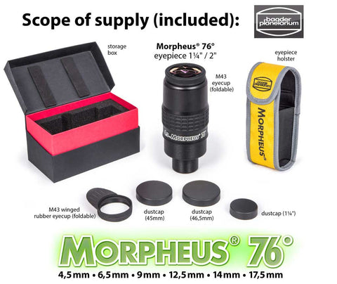 76° Morpheus® eyepiece w. standard foldable eyecup, winged/foldable eyecup for binoviewing, storage-box, three dustcaps, cordura eyepiece holster