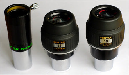 Fig 1: Eyepieces used for the test: Tele Vue 2.5x Powermate, Pentax 14mm XW, and Pentax 10mm XW.