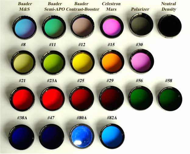 Fig 1: Planetary and color filters tested to ascertain any benefit for lunar and planetary observing. Image Credit: Author.