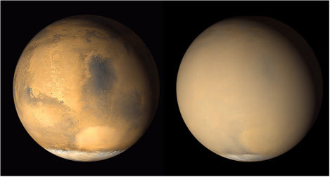 Fig 5: Two 2001 images from the Mars Orbiter Camera on NASA's Mars Global Surveyor orbiter show a dramatic change in the planet's appearance when haze raised by dust-storm activity in the south became globally distributed. Image Credit: NASA/JPL-Caltech/MSSS