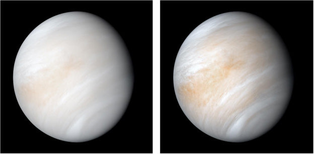 Fig 4: A color enhanced image of Venus from the Mariner 10 spacecraft. This view is a false color composite created by combining images taken using orange and ultraviolet spectral filters. The clouds shown are located about 40 miles above the planet's surface, at altitudes where Earth-like atmospheric pressures and temperatures exist. They are comprised of sulfuric acid particles. The cloud particles are mostly white in appearance; however, patches of red-tinted clouds also can be seen. Image credit: NASA/JPL-Caltech.