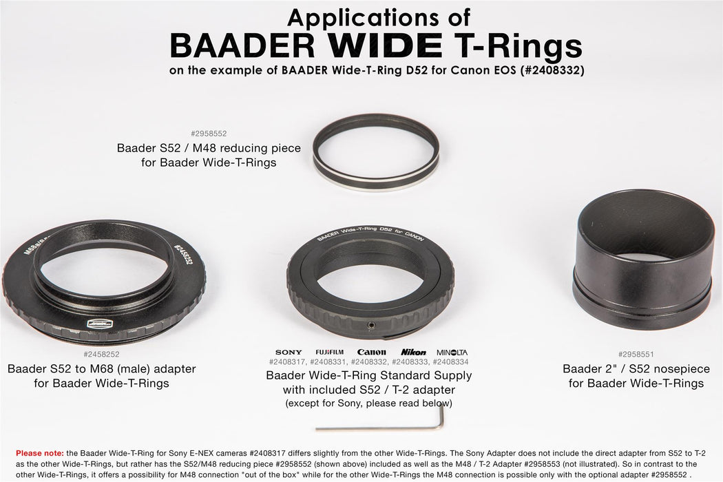 Baader Wide-T-Ring Sony E/NEX Bayonet with D52i/M48 to T-2 and S52