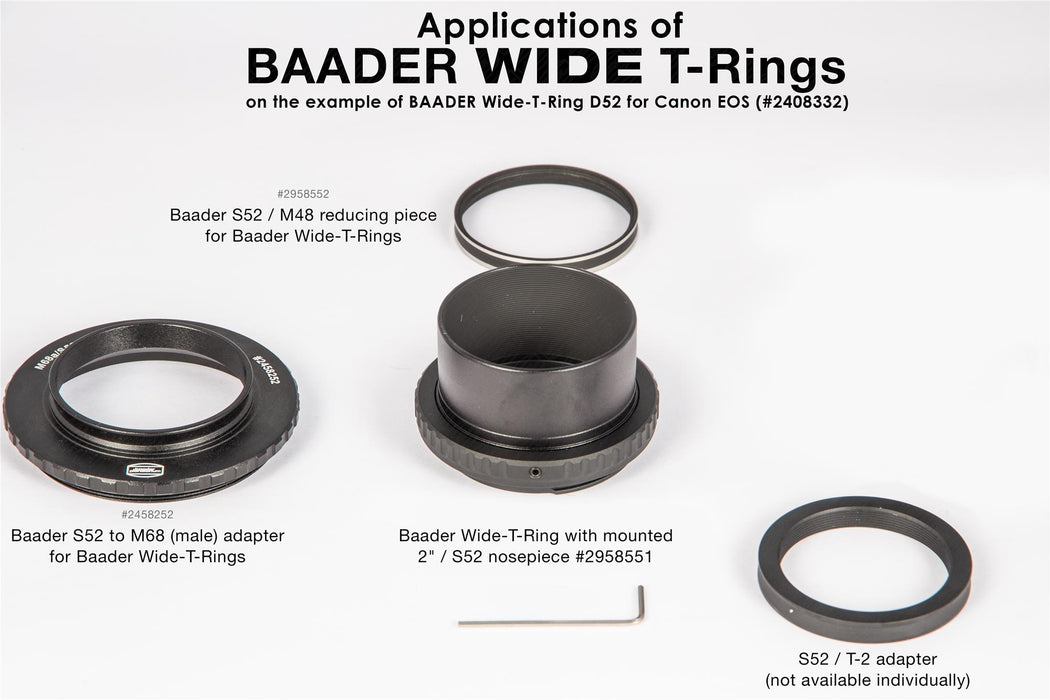 Baader Wide-T-Ring Sony Alpha and Minolta Maxxum with D52i to T-2 and S52