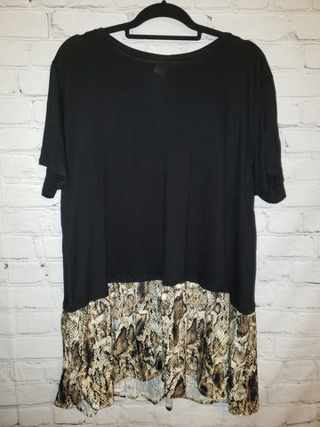Black shirt with snakeskin accent