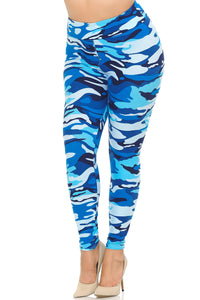 Blue Camo Regular Waist Leggings