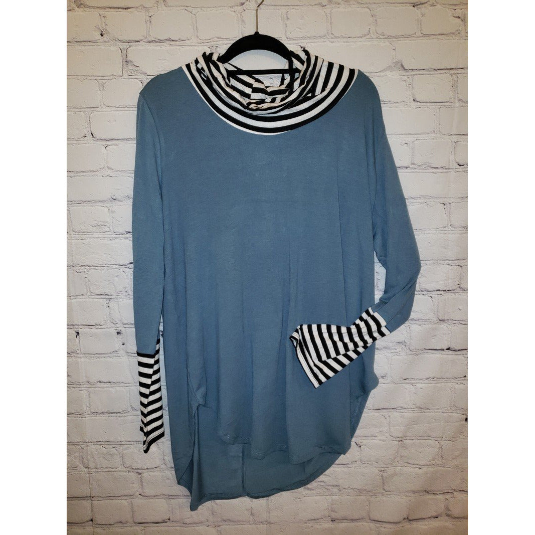 Striped & Solid Long Sleeve Turtle Neck