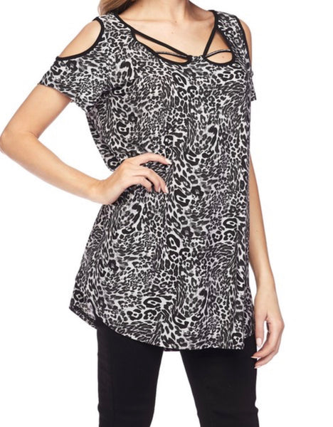 Black Leopard Cold Shoulder