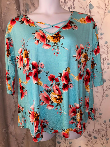 132 Teal Floral Cage Shirt