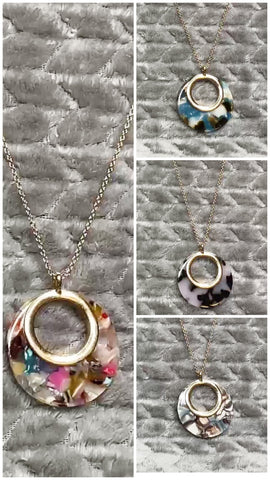 "Round Resin 24"" Necklace"