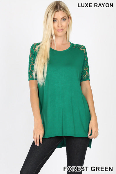 Green Lace Sleeve Hi-Low