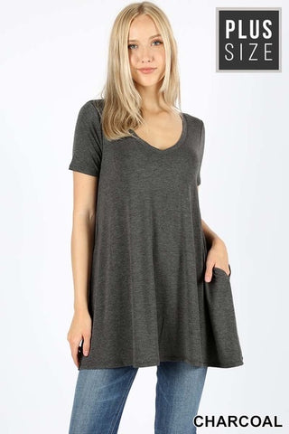 111 Charcoal V-Neck Flared Top with Pockets