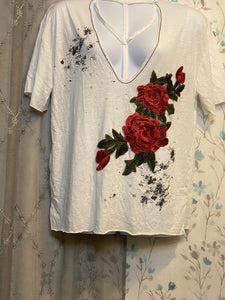 Distressed Embroidered Rose Shirt