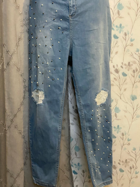 Pearl Studded Distressed Jeans 20/22