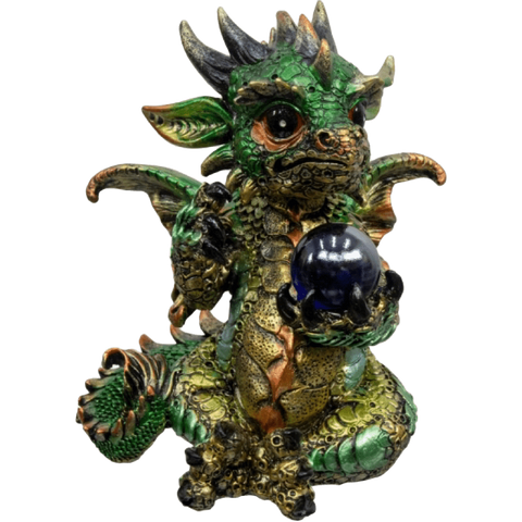 Large Baby Dragon Figurine Holding Sphere - Green