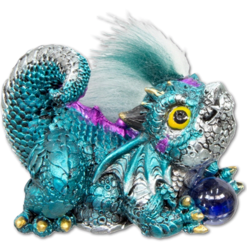 Baby Dragon Figurine w/Sphere - Aqua and Purple