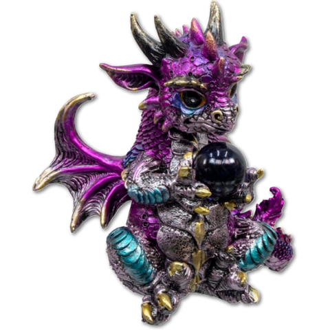Large Baby Dragon Figurine Holding Sphere - Purple