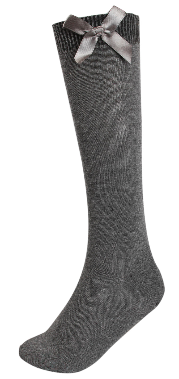 3 Pack Grey Knee High Socks With Bow