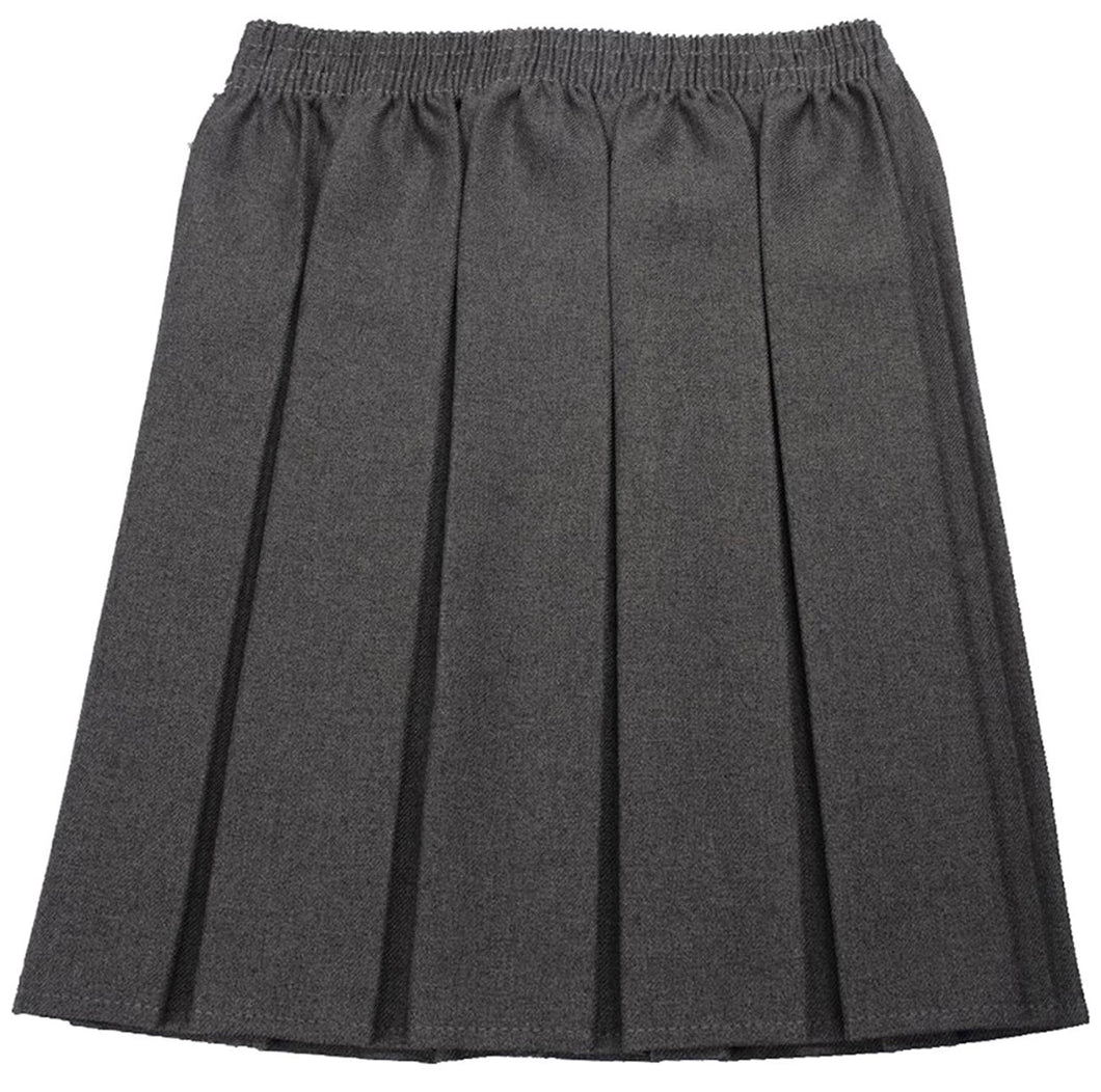 Grey Box Pleat Full Elastic Waist