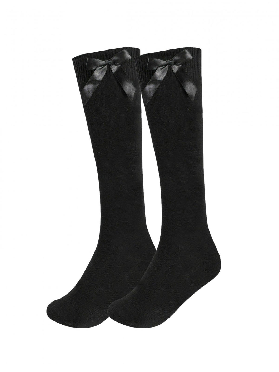 3 Pack Black Knee High Socks With Bow