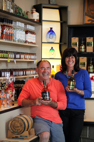 Schnapp Dragon founder and Kiwi Spirit Distillery owner Terry Knight and partner Rachel Raine