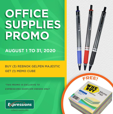 OFFICE SUPPLIES PROMO from August 1 - 31, 2020