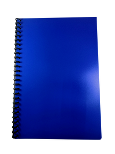 Long Refillable Clear Book, with 20 inserts, Blue