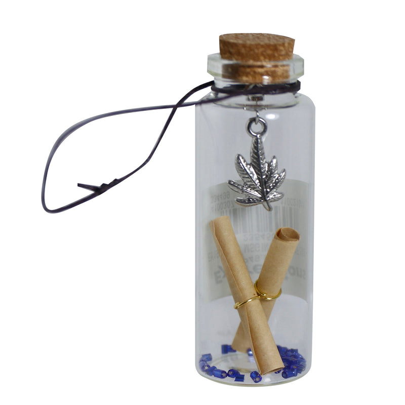 LEAF-DESIGNED MESSAGE IN A BOTTLE TABLE DECOR, 3X8CM